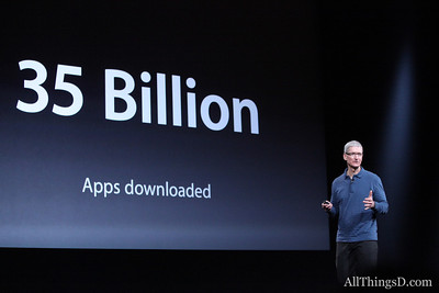 """This is jaw-dropping,"" Cook said. With 35 billion apps downloaded, iOS has 700,000 apps and growing."