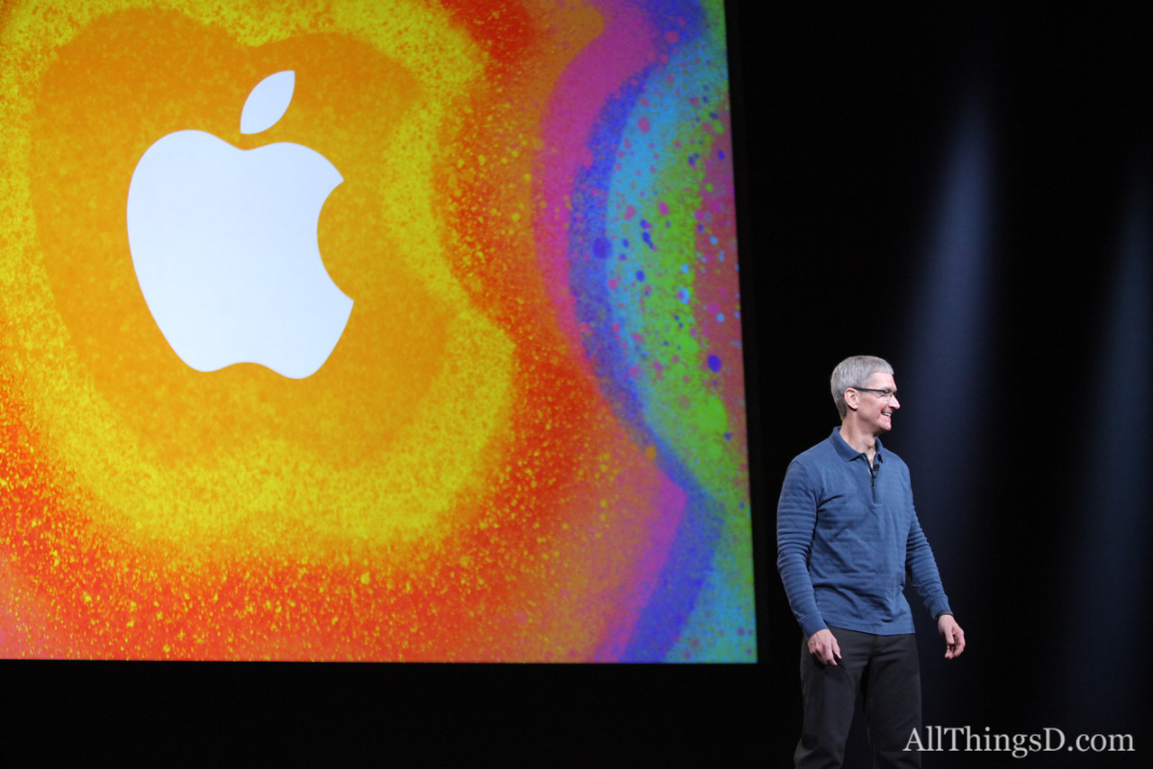 Apple CEO Tim Cook welcomes attendees to the company's event.