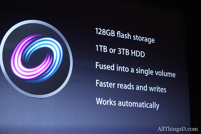 Fusion Drive splits up tasks between flash memory and the hard drive.