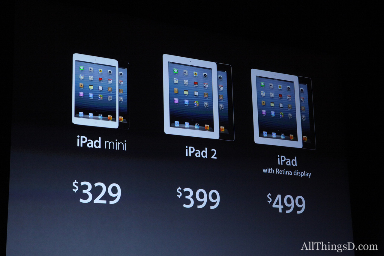 A look at the starting price range of the new iPad line.