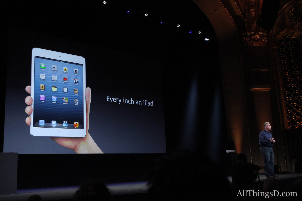 """This isn't just a shrank iPad, says Jony Ive. If we just shrunk it, you'd notice """"loss."""" This is not just a """"reduction of the original."""""""