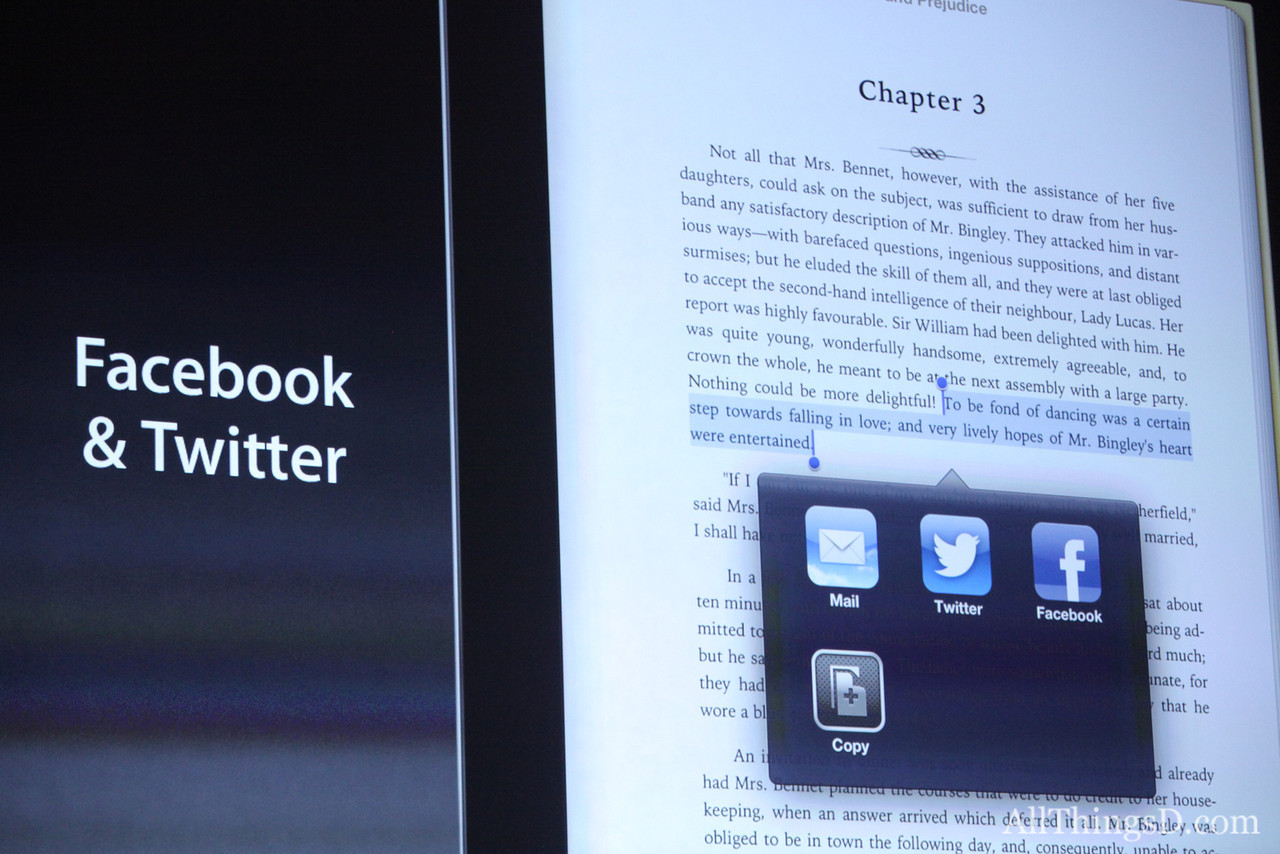 Cook announced a new version of the iBooks app, including continuous scrolling, Japanese/Chinese text, and integration with Facebook and Twitter.
