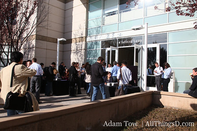 Journalists gather outside Apple Town Hall for the event.