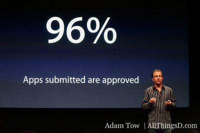 96 percent of apps submitted are approved, says Joswiak.