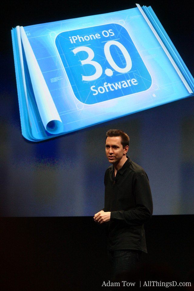 "Joswiak invites Scott Forstall to the stage for a look at OS 3.0. Forstall says Apple has been 'blown away"" by the breadth and quality of app development its seen."