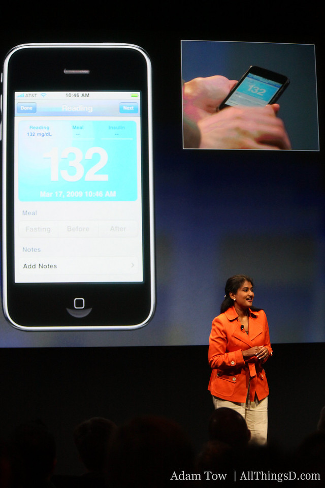 Using the new accessory API, Lifescan's glucose meter can transmit its reading to the iPhone over Bluetooth.
