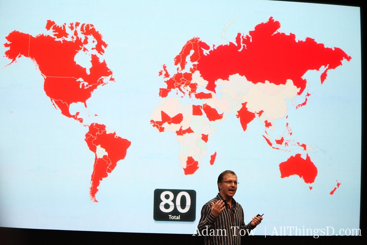 The iPhone is now in 80 countries, says Greg Joswiak.