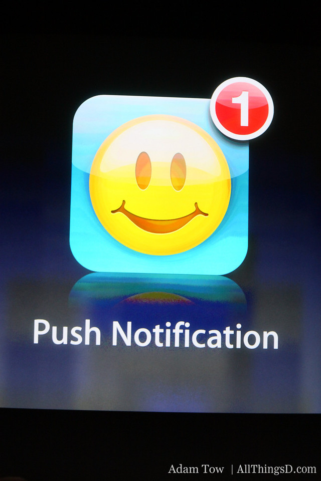 Also new to the OS: push notification.
