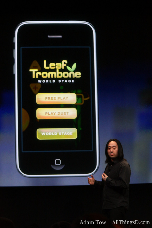 "Smule's used the new iPhone SDK to create what it says is ""the first massively online social music gaming experience."" It's called Leaf Trombone World Stage."