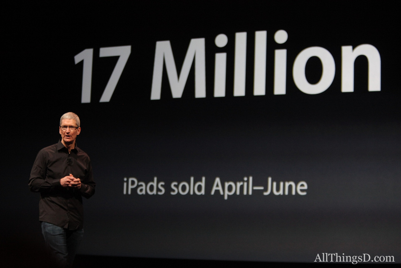 "Cook: ""We sold more iPads than any PC manufacturer sold of their entire PC line. Yes, we are in a post-PC world."""