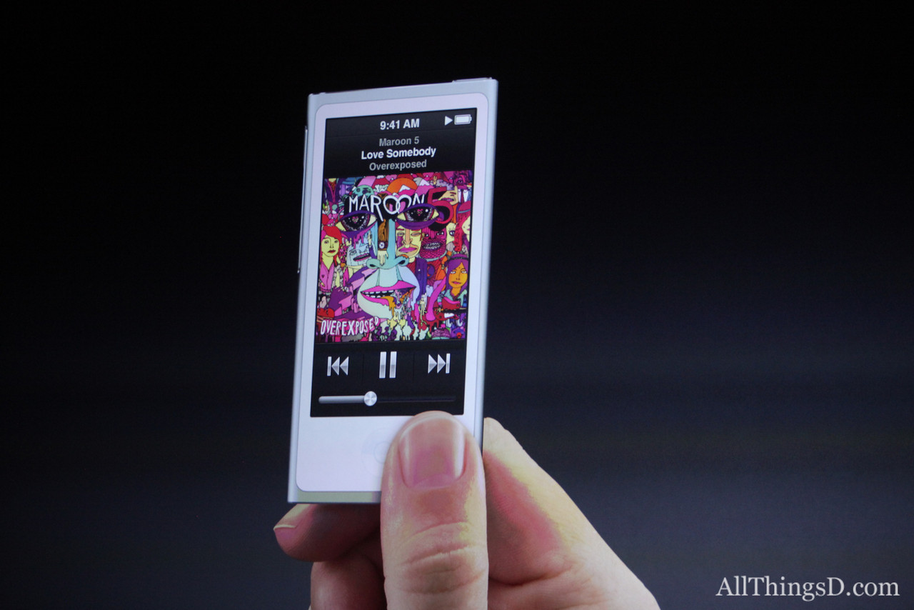 Apple's also changing the iPod Nano, making it long and tall again, and 38 percent thinner than the Nano it replaces.