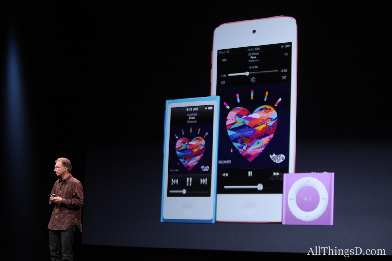 Apple also demoed a new iPod touch with a faster processor and a iPhone 5-esque four-inch Retina display.