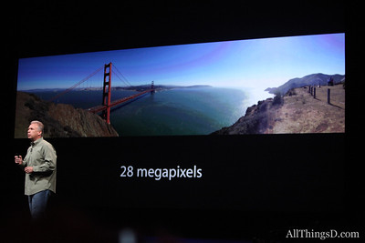 Schiller showed off a 28-megapixel image with the new iPhone camera's built-in panorama mode.