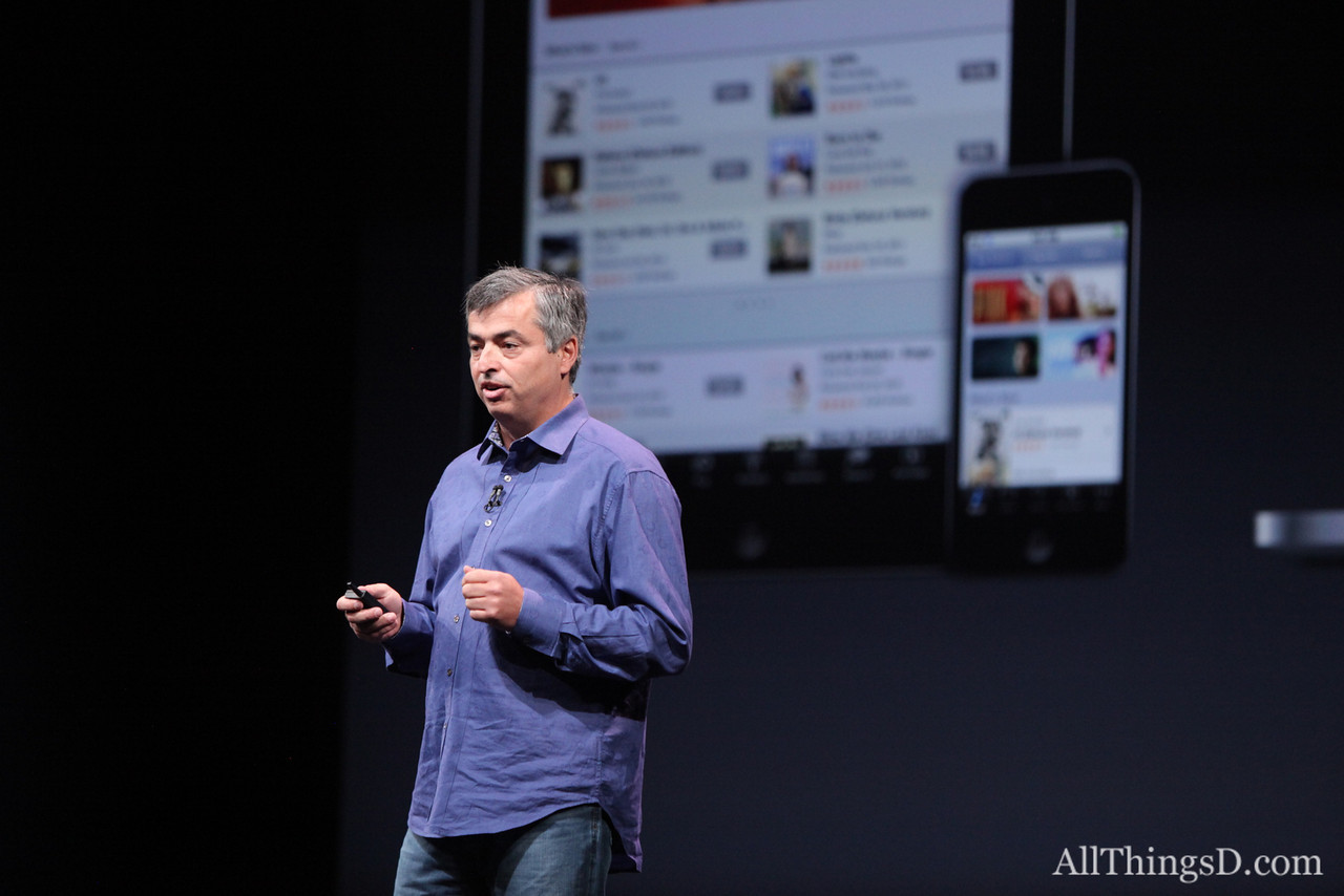 The iTunes store for iOS has been rebuilt and includes direct sharing to iPhone and Twitter, Cue said.