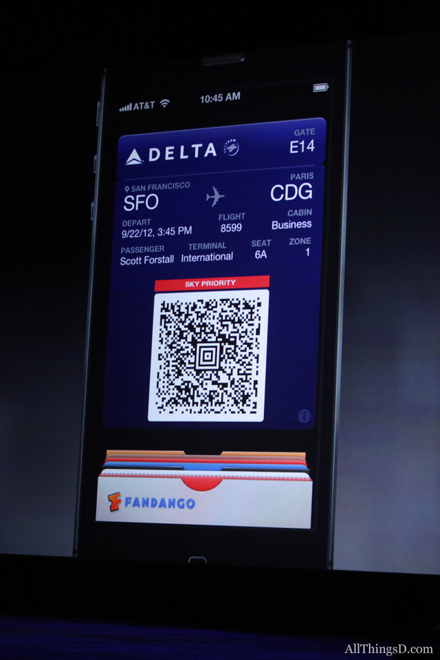 Forstall also showed off iOS 6's Passbook, including an ability to show a boarding pass even from behind the lock screen.