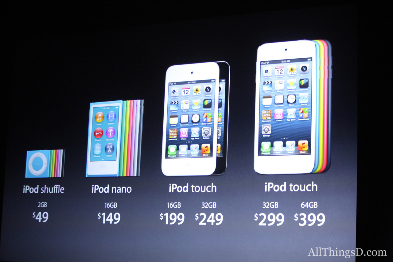 The iPod touch and shuffle are also getting new colors, to go along with the technicolor options for the iPod nano.