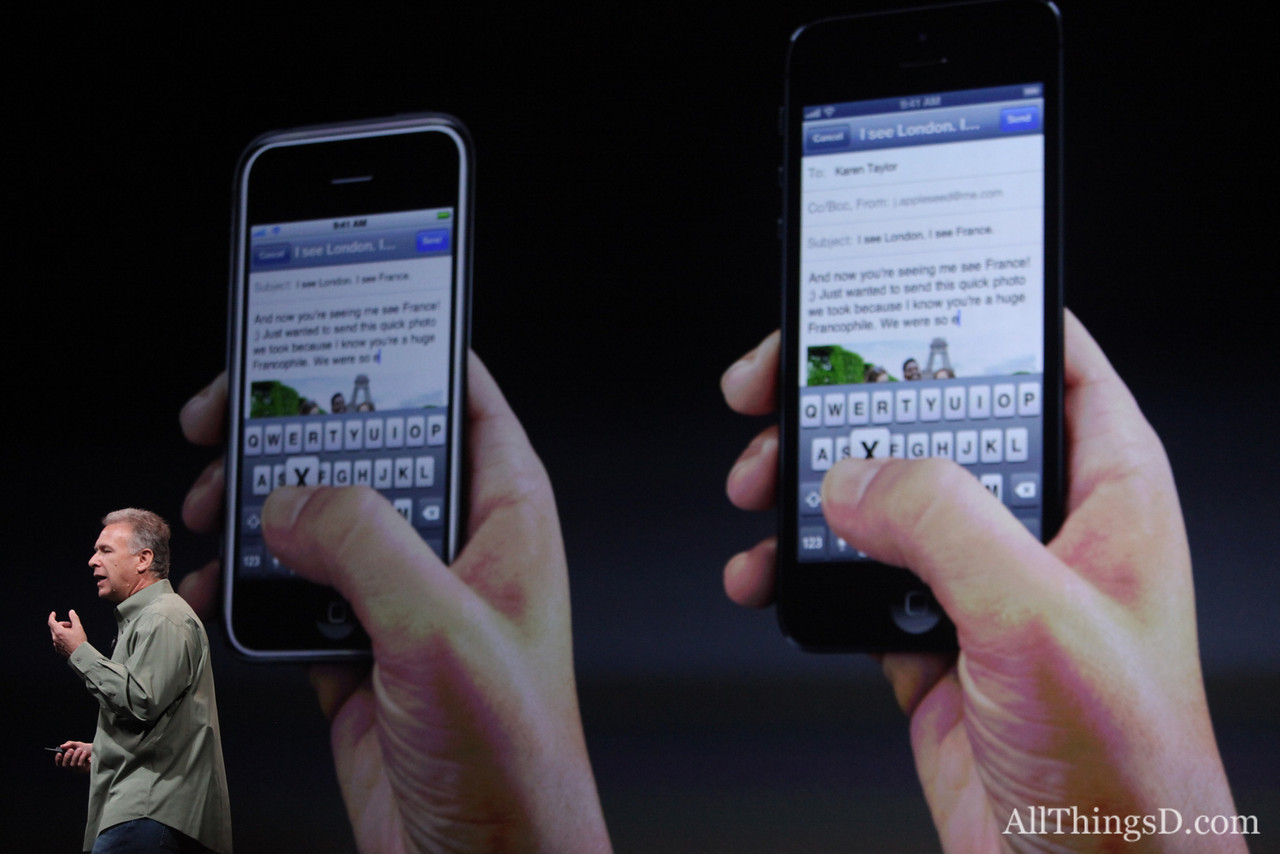 The new iPhone's screen is taller with a four-inch screen and a 16:9 aspect ratio.