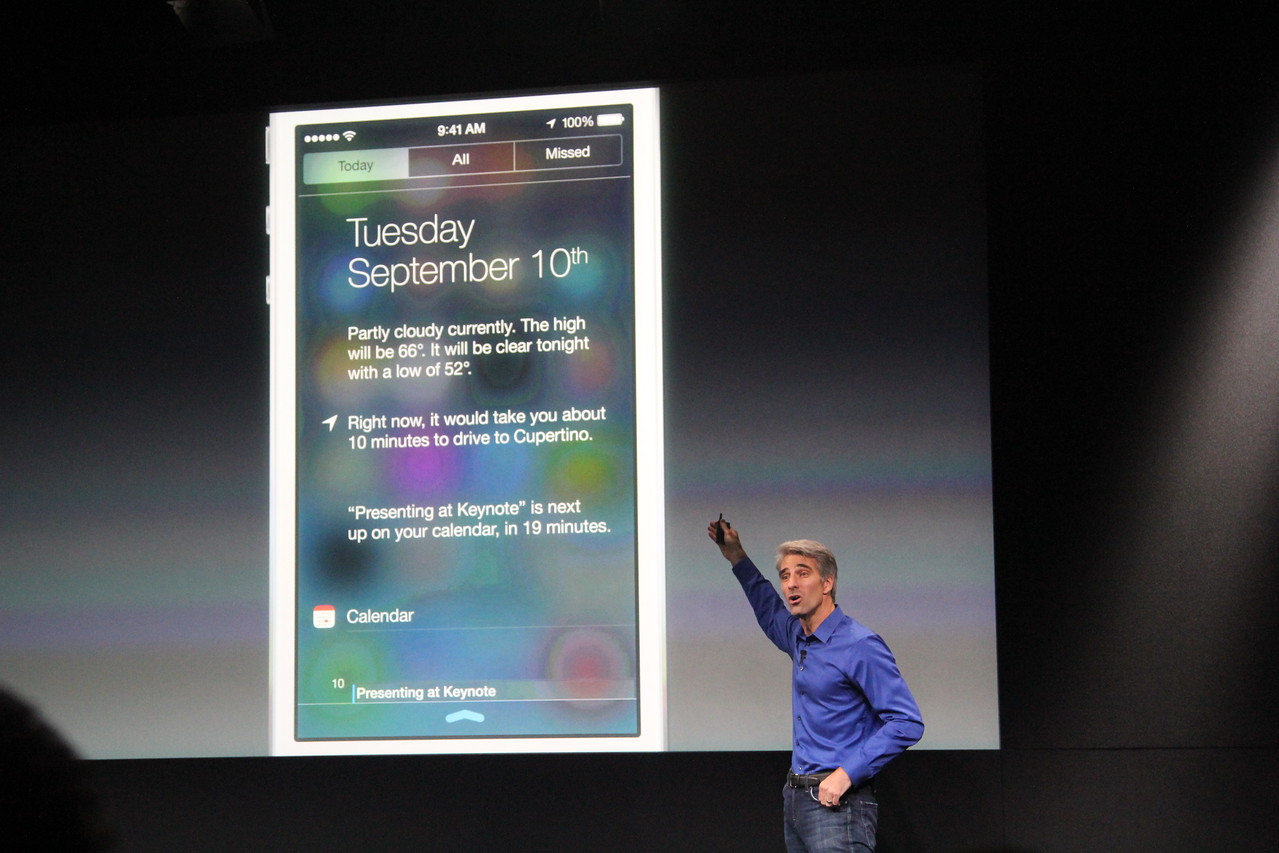 He also highlighted a new notification center and the new sights and sounds of Siri and phone calls.