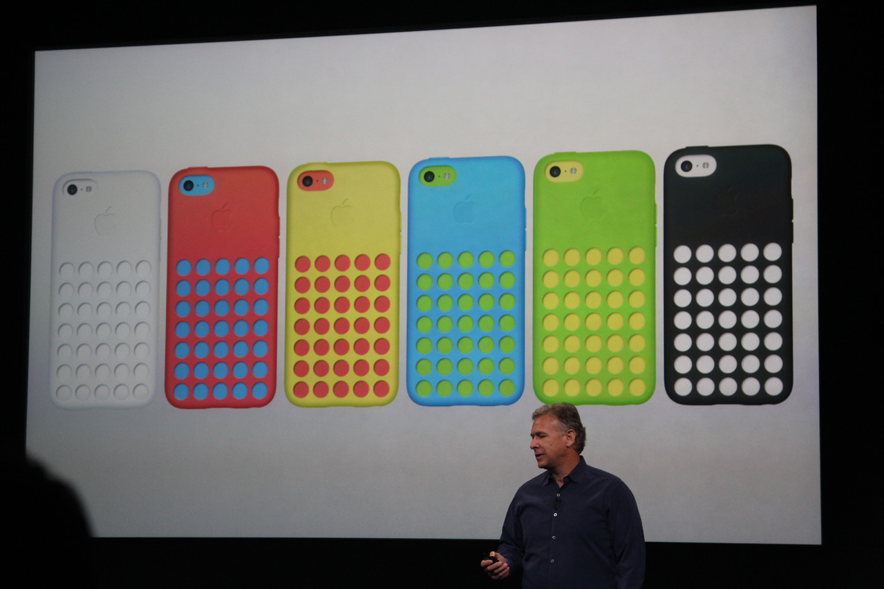 Special cases for the plastic iPhone 5C with a grid of holes in the back will also go on sale at the same time.