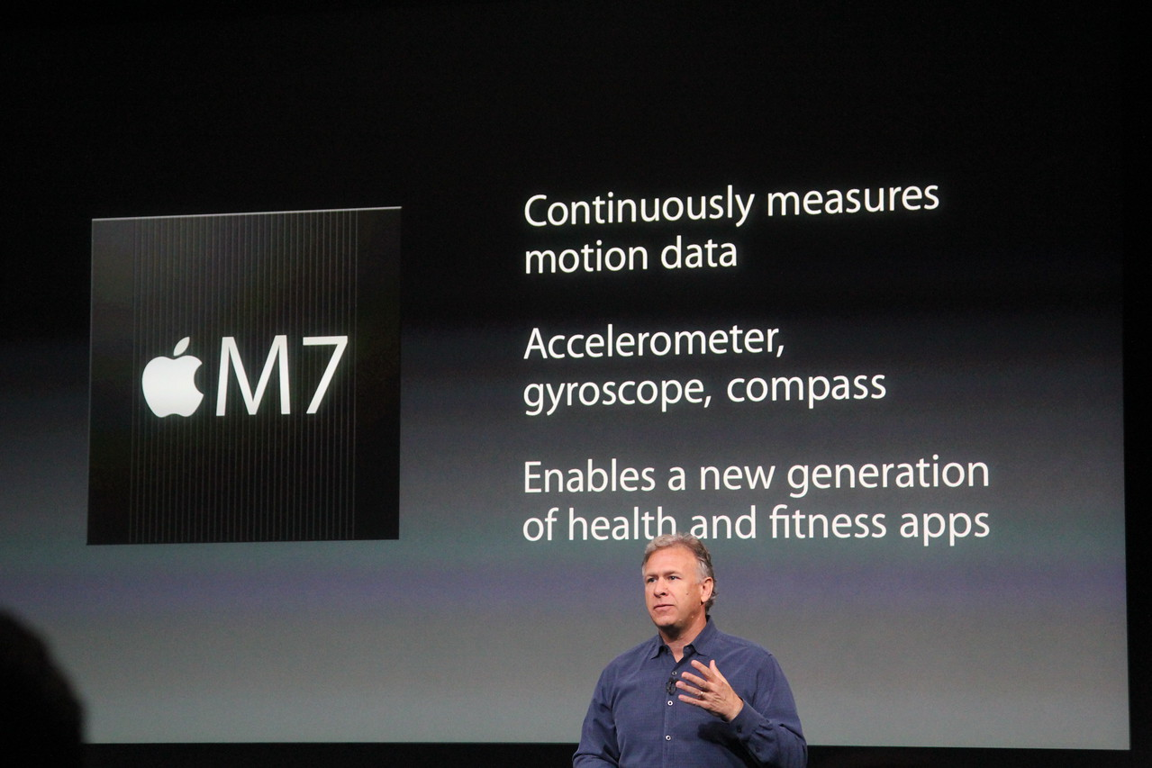 Schiller then returned to the stage, first to talk about the other new part of the phone's innards: a better motion-sensing chip.
