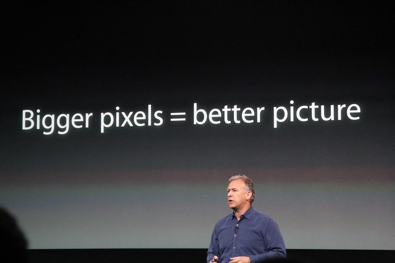 He said that the 5S' bigger pixels will deliver better picture quality.