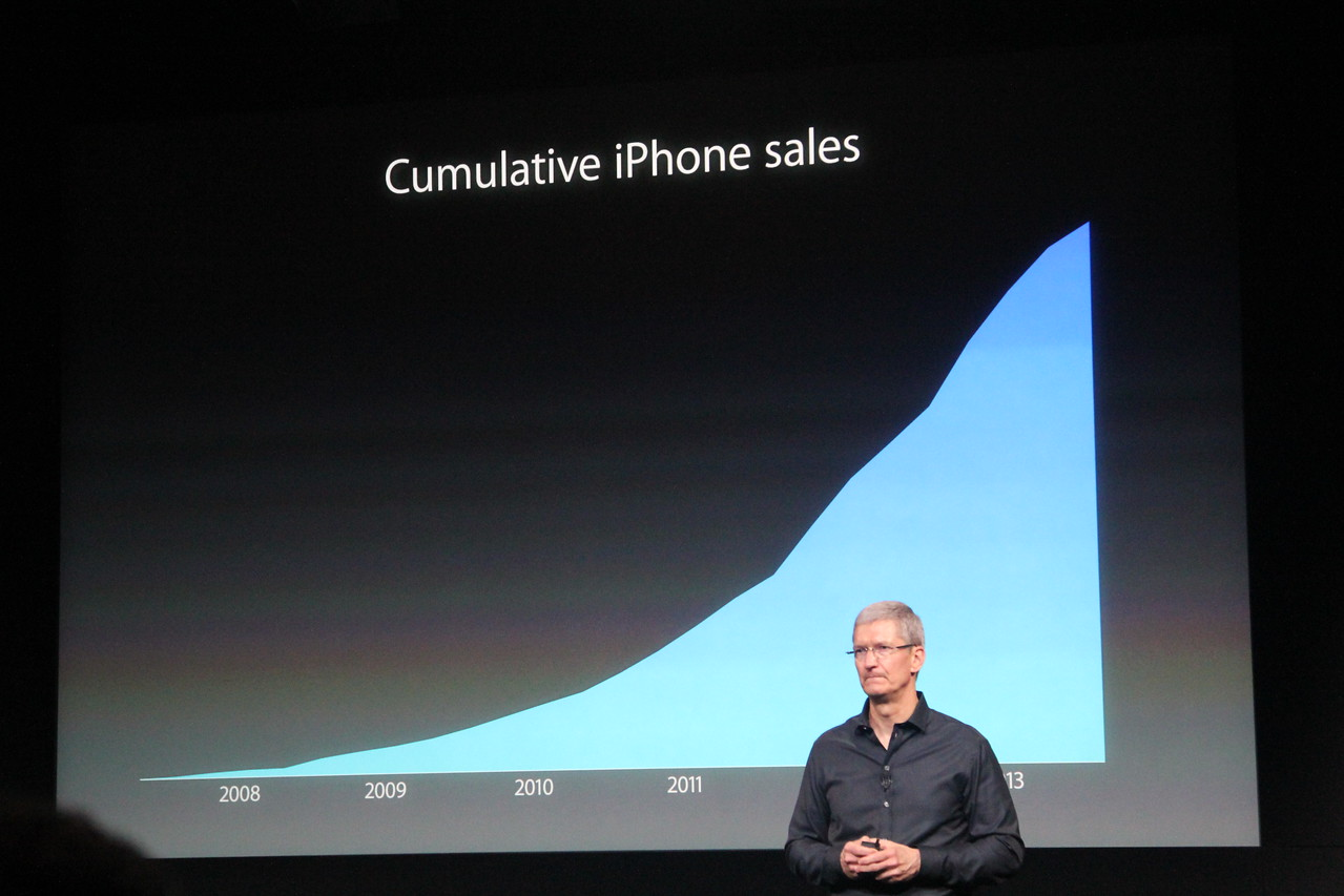 Cook pauses on a graph showing cumulative iPhone sales over time.