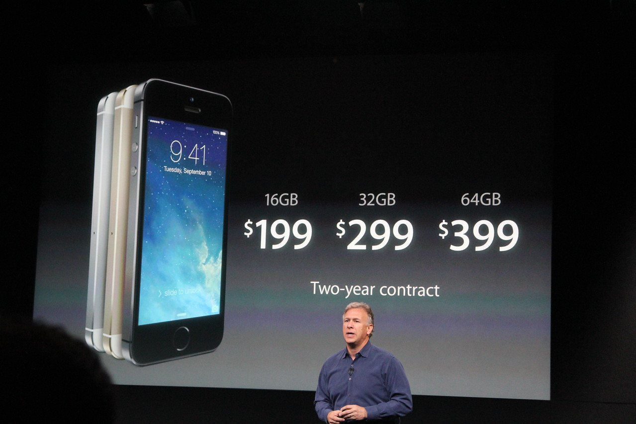 The prices for the iPhone 5S ranged from $199 to $399 with a two-year contract.