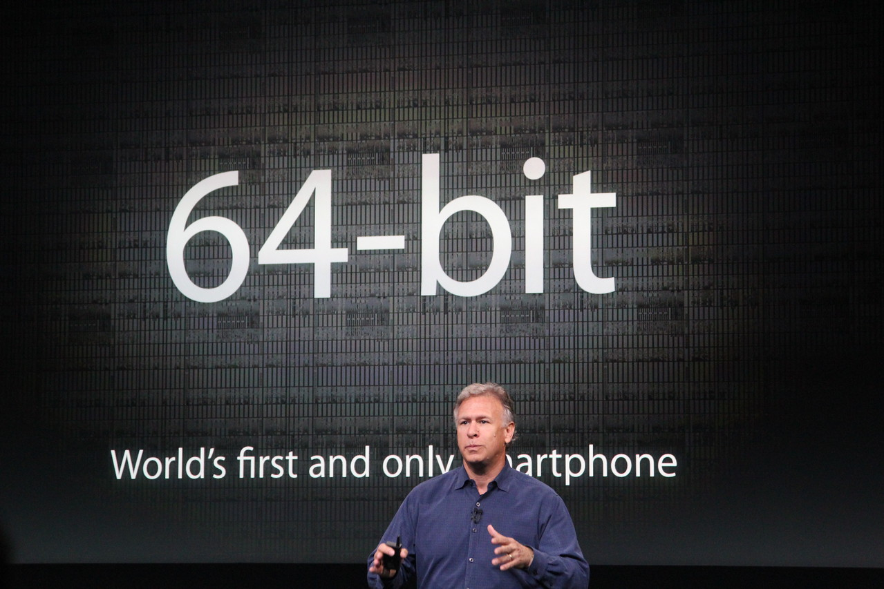Schiller boasted that the 5S will have a 64-bit processor, claiming that it's the only phone so far that has one.