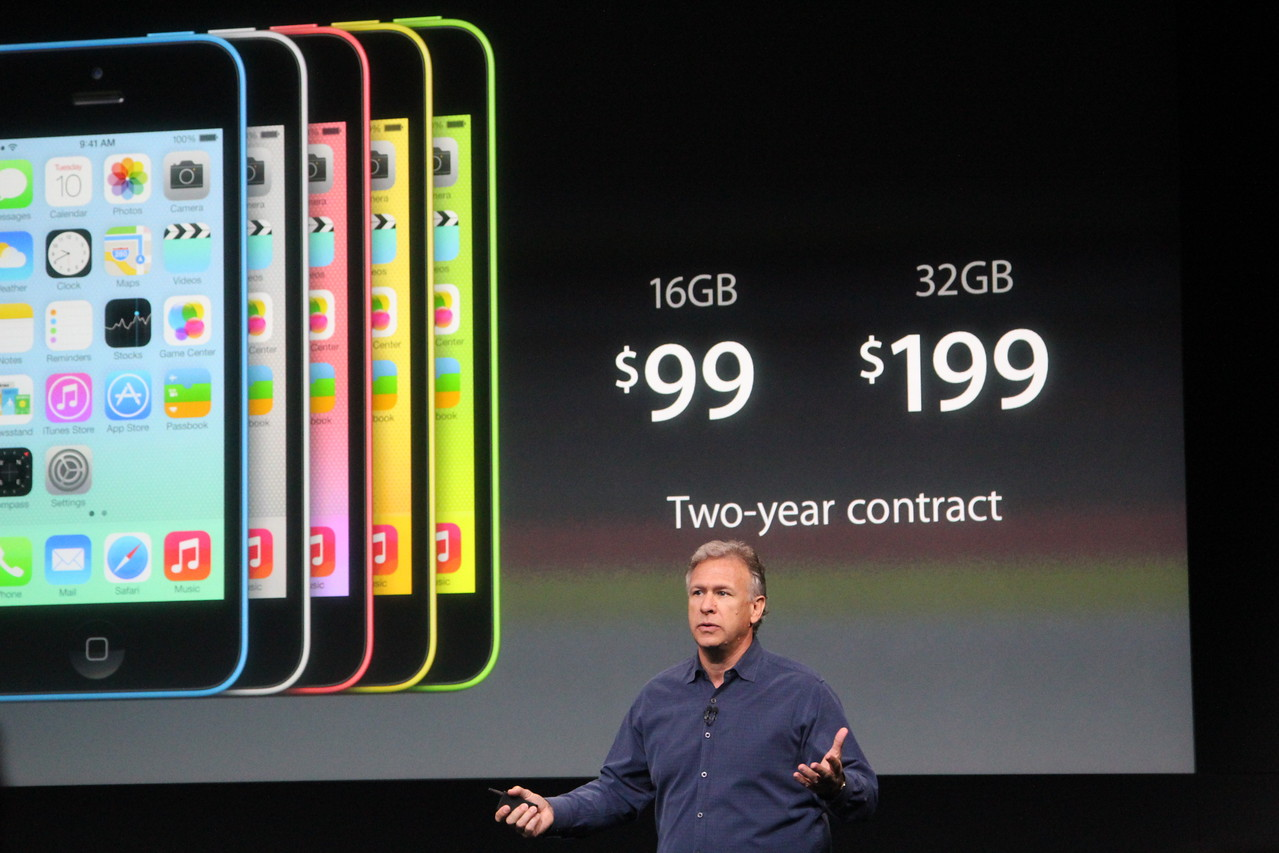 The 16GB iPhone 5C will cost $99, and the 32GB model will cost $199.
