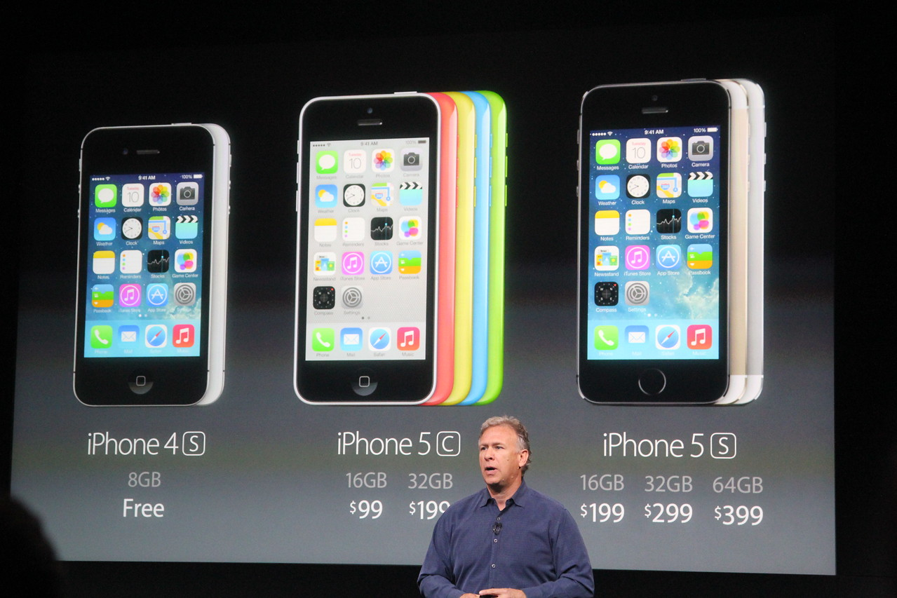 Schiller recaps all the various price points of the iPhones that Apple will sell. Because of the introduction of the iPhone 5C, the company will not sell the iPhone 5 at a lower price.