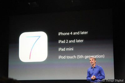 iOS 7 will be available for the devices on this slide on September 18.