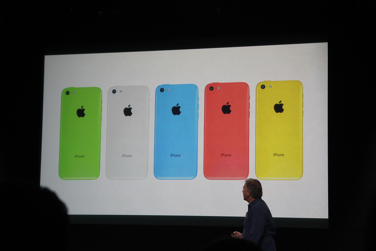 Schiller plays a video about the 5C, which is available in five colors.