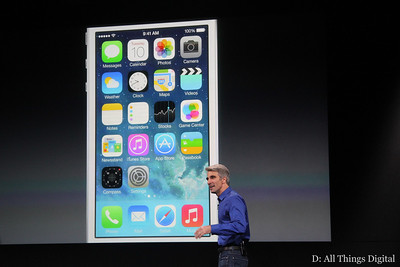 Federighi reviewed the new look and feel of the mobile OS.
