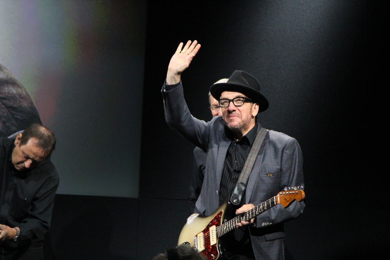 Costello waves to the crowd.