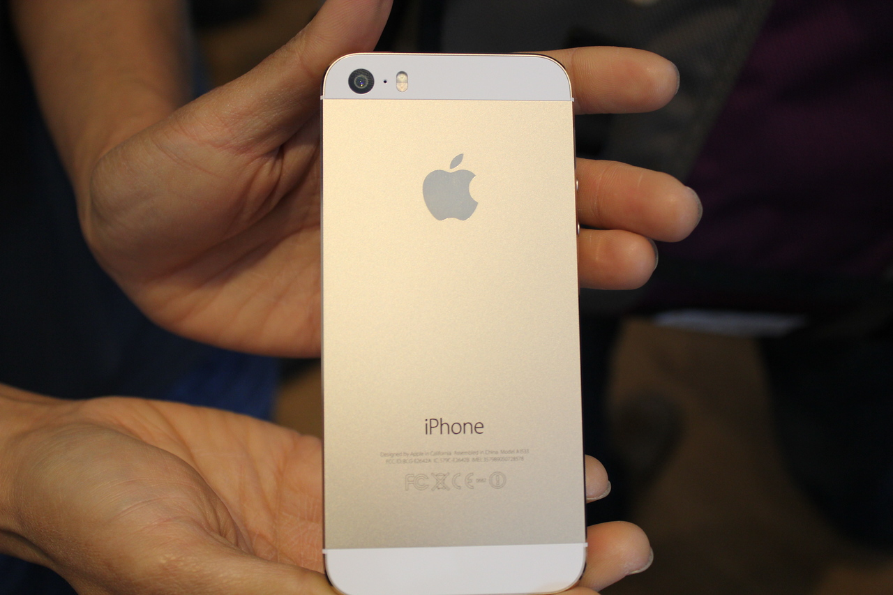 A look at the back of the gold iPhone 5S.