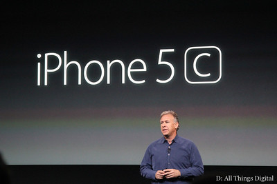 Schiller began by discussing the first of Apple's two new phones: a lower-cost device called the iPhone 5C.
