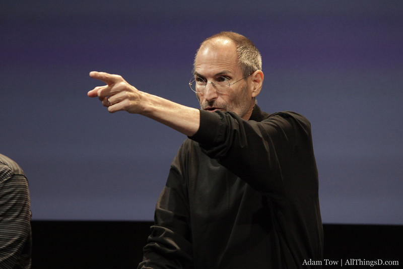Steve Jobs gets the next question during the iPhone 4 antenna conference.