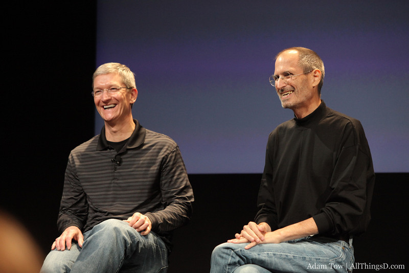 Tim Cook and Steve Jobs during the Questions and Answers session of the iPhone 4 Antenna Conference.