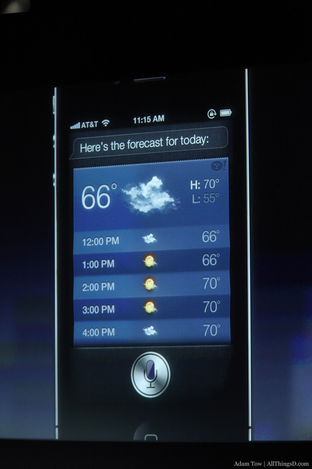 Getting weather information from Siri.
