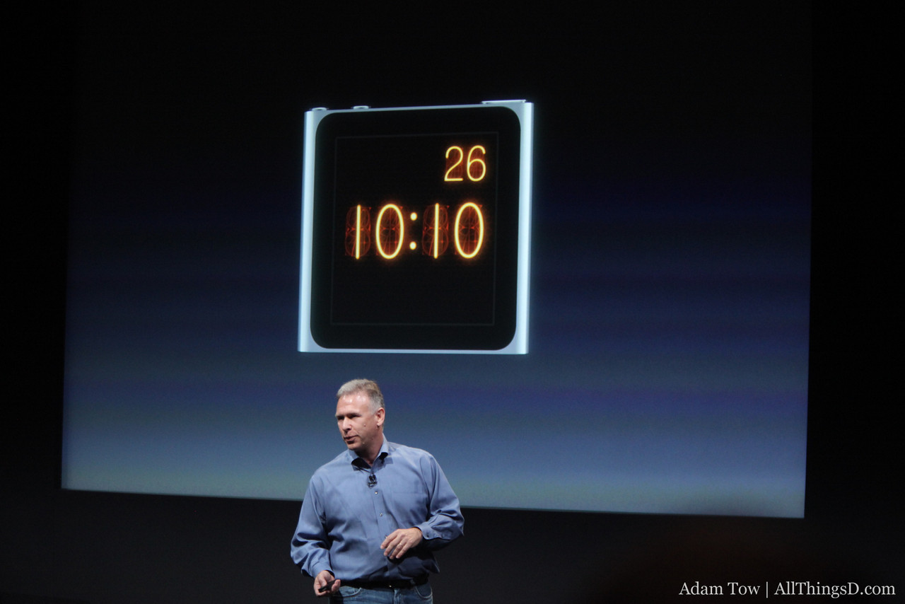 One of the new clock faces in the iPod nano.