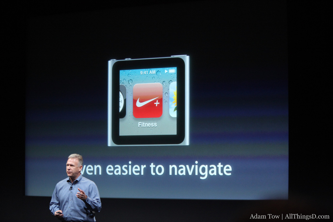 Phil shows the swipe to navigate feature in the new iPod nano.