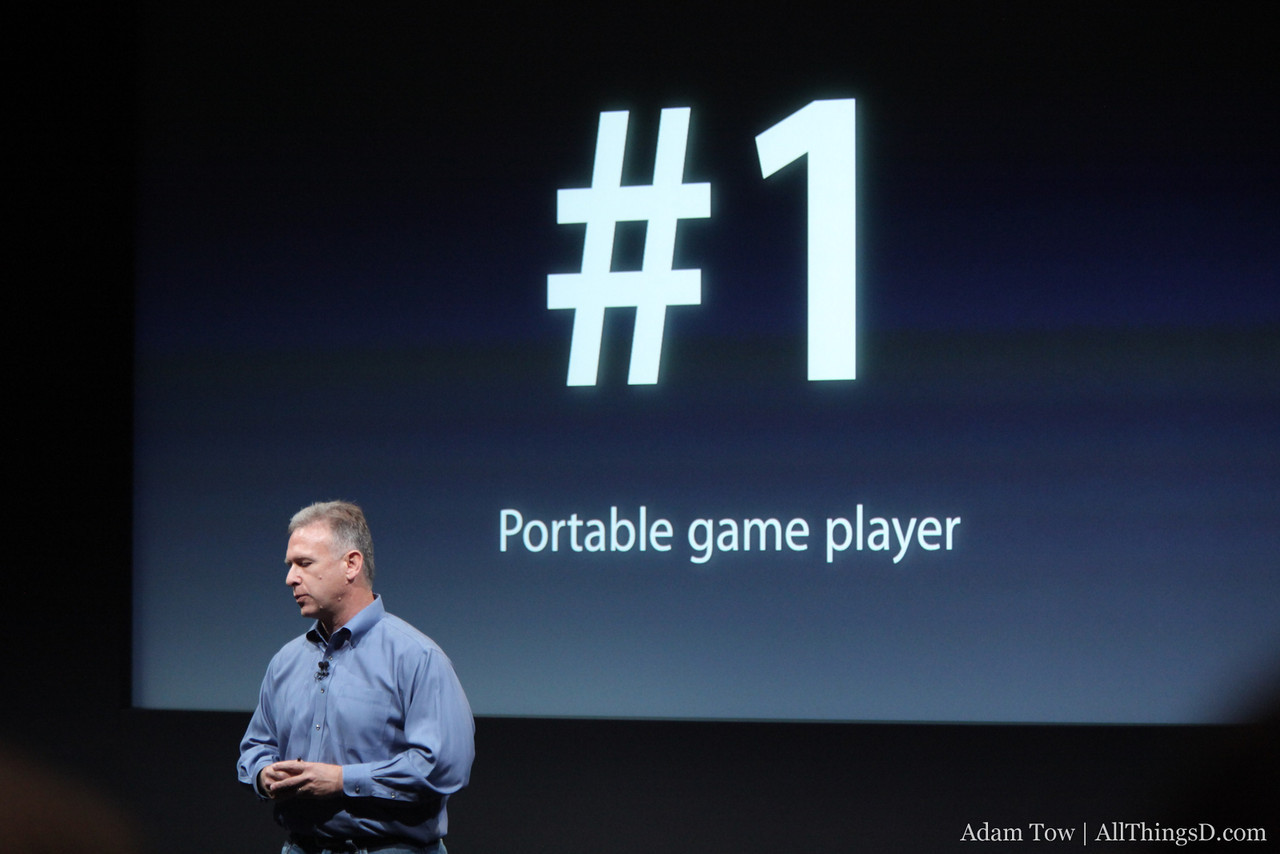 The iPod touch is the No. 1 portable game player on the market, says Phil Schiller.