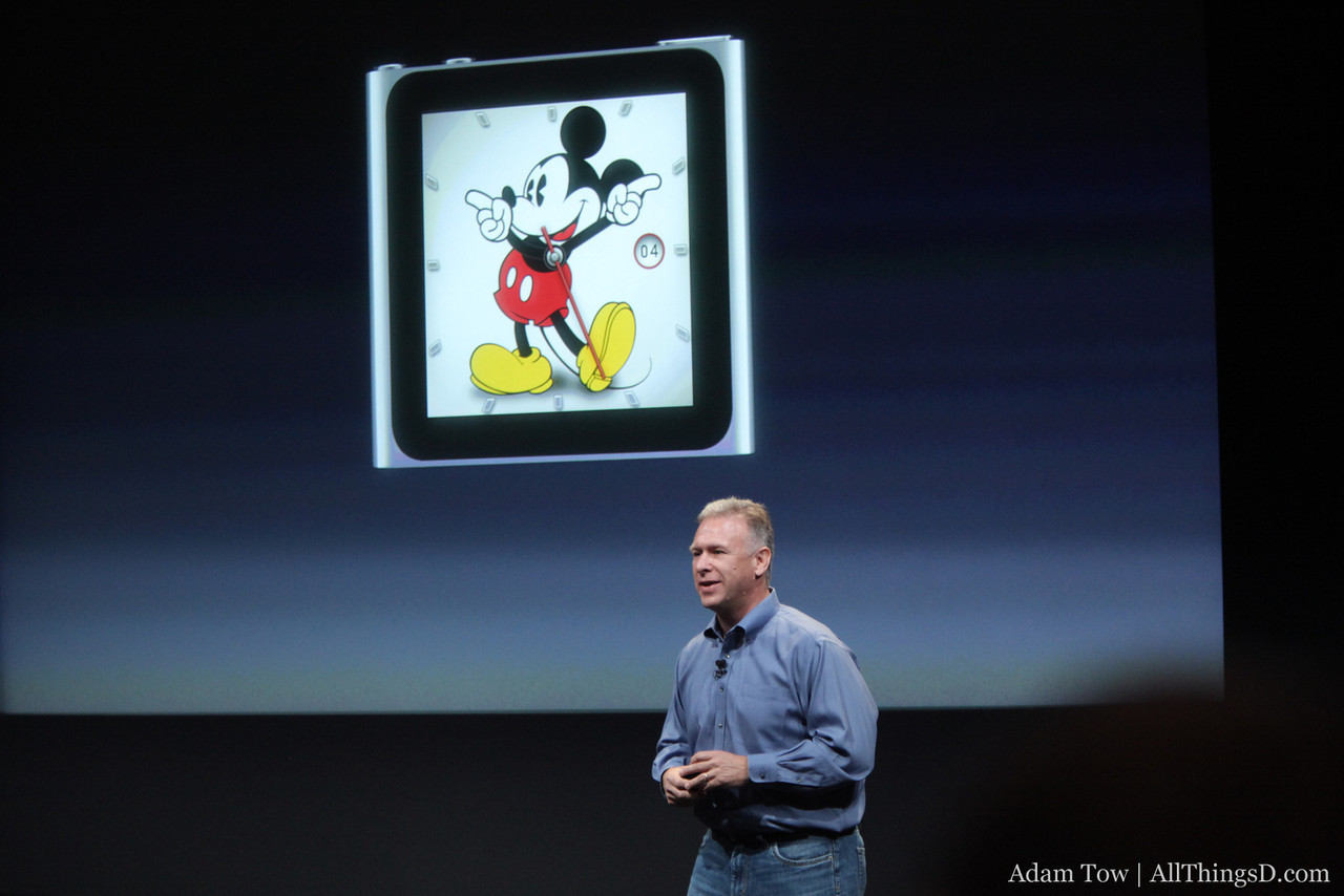 One of the new Disney-themed clock faces in the iPod nano.