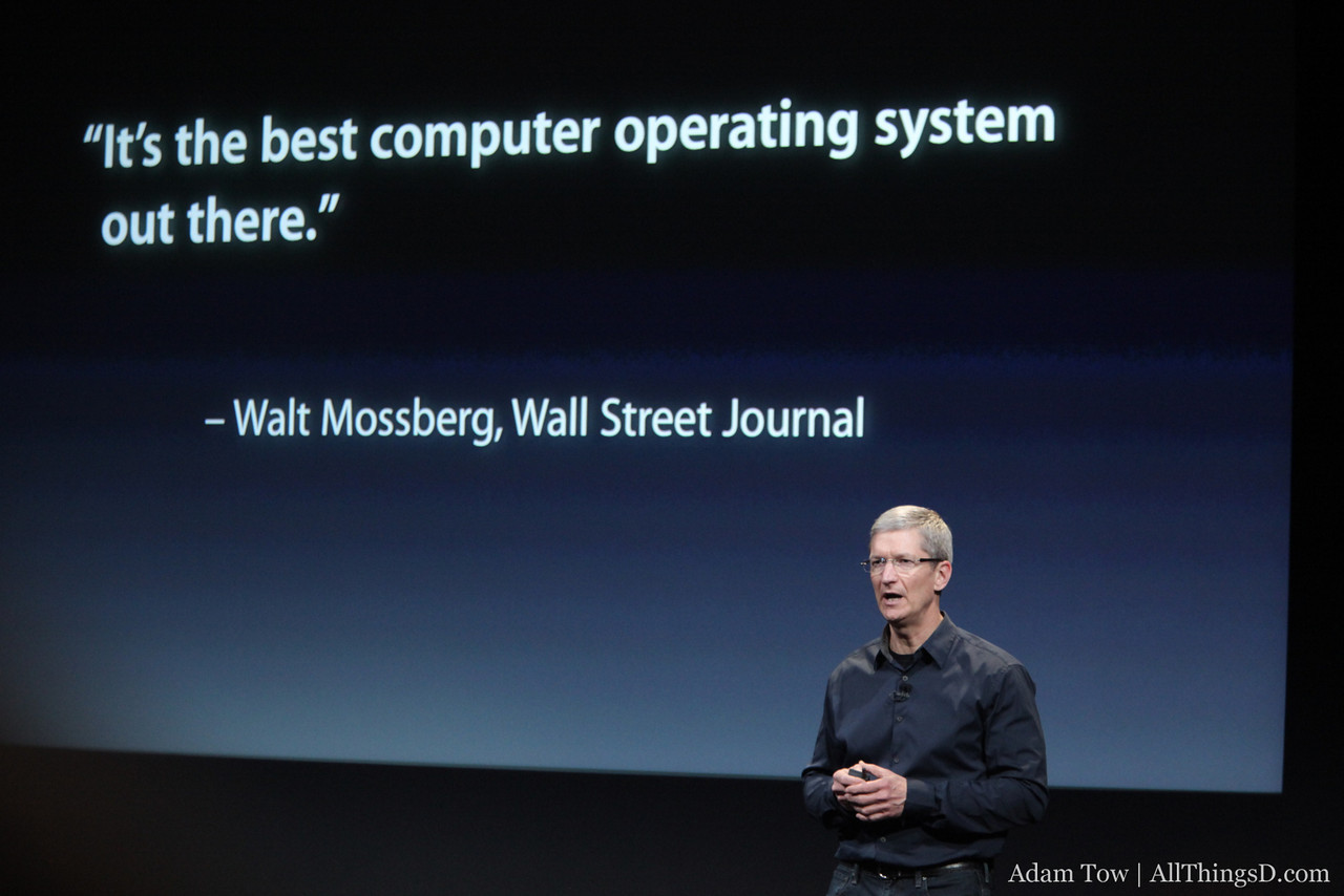 Apple CEO Tim Cook shares a quote from Walt Mossberg's review of OS X Lion.