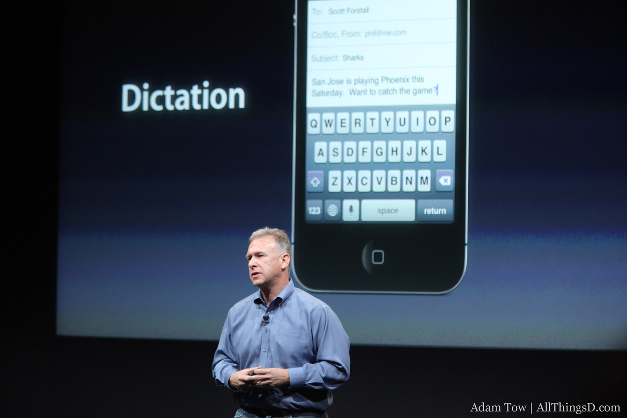 Phil Schiller says you can even do dictation with Siri.