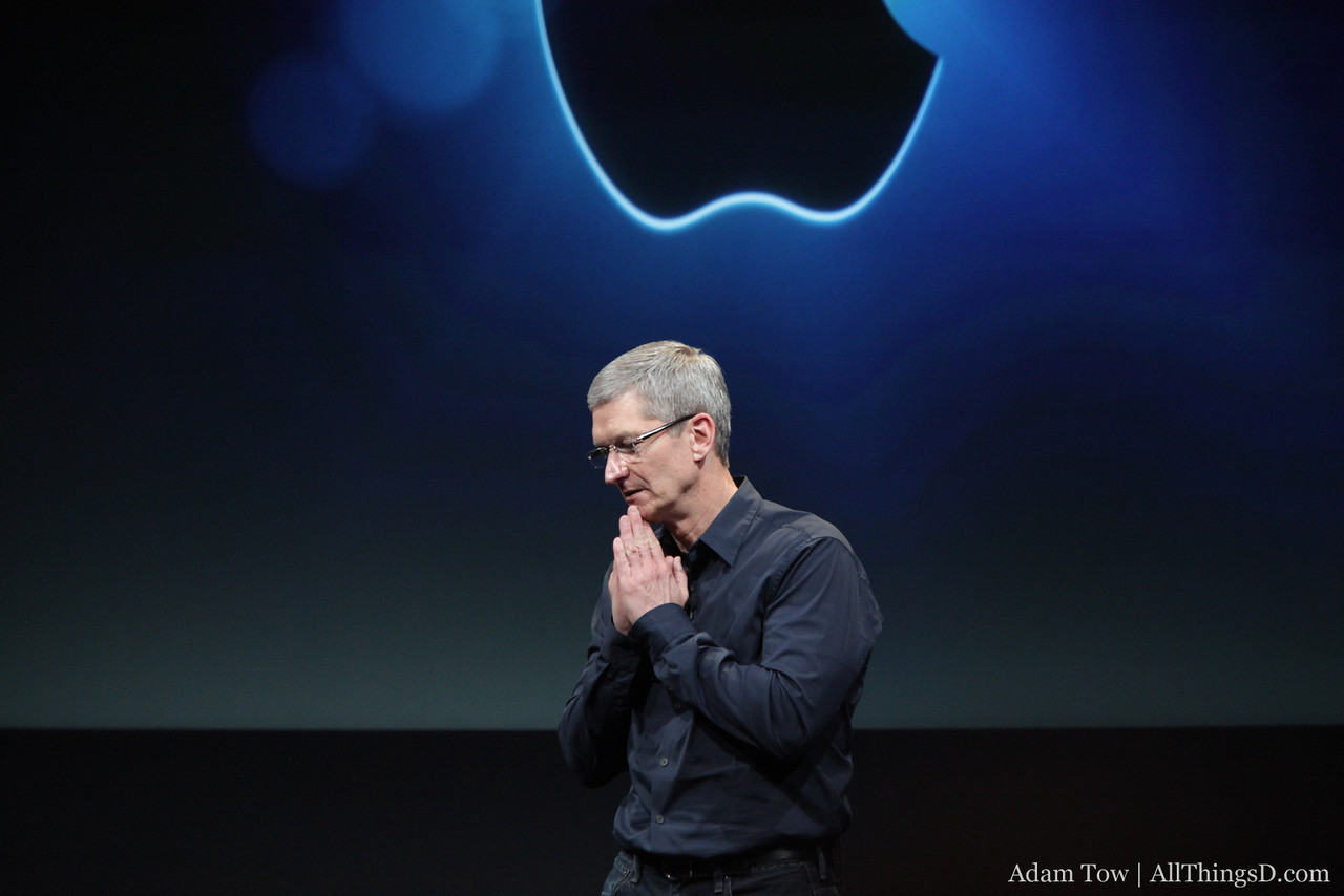 Cook does a classic Steve Jobs hands impersonation.