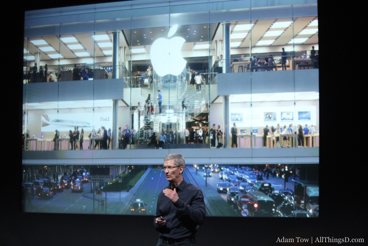 Cook talks about recent Apple Store openings.