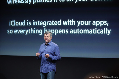Eddy Cue comes up on stage to talk about iCloud.