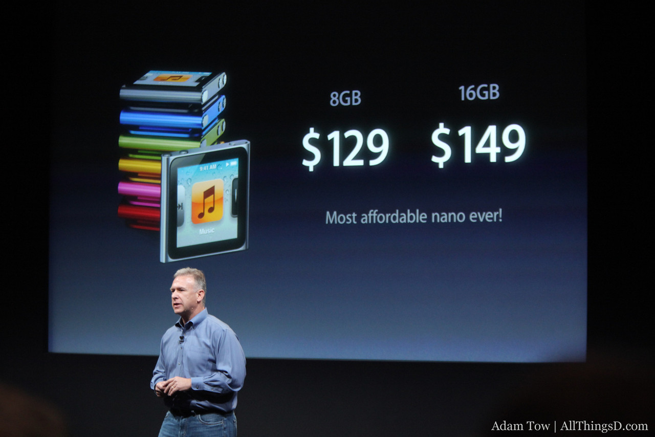 Pricing for the new iPod nanos.