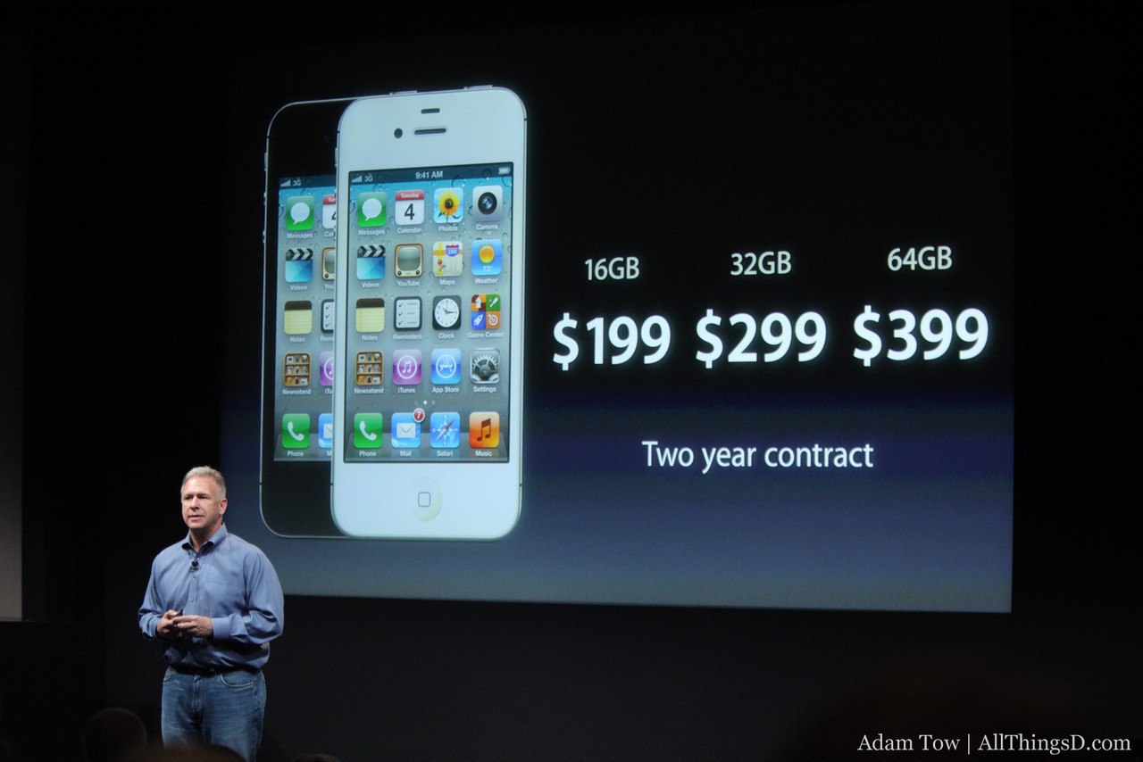 Pricing for the iPhone 4S.